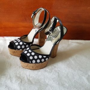 Michael Kors Black White Adria Ankle Strap